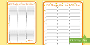 100th Day of School: 100 Things We Like to Do Large Display Poster - 100th Day of School, poster, display, 100 days of school