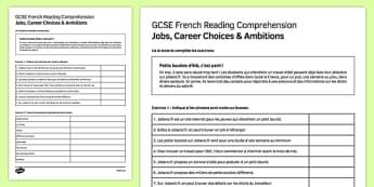 Petits boulots d'été Reading Comprehension Activity Sheet, worksheet