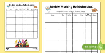 Person Centred Review Refreshment List with Categories - person centred review, annual, meeting, parents, refreshment, list, categories