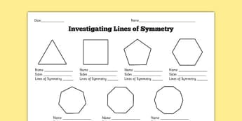 Investigating Lines of Symmetry Worksheet
