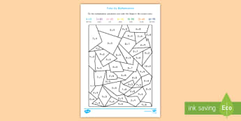 Color by Multiplication Activity Sheet - math, coloring, multiplication, activity, art, worksheet