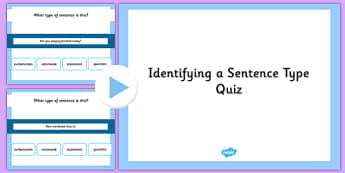 Identifying a Sentence Type SPaG Grammar PowerPoint Quiz - SPaG