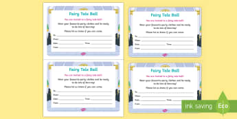 Fairy Tale Ball Invitation Writing Template - EYFS, Early Years, KS1, Key Stage 1,fairytales, Cinderella, Ball, Ballroom, Dancing, Party