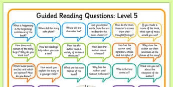 Levelled Guided Reading Questions Mats - books, question, level