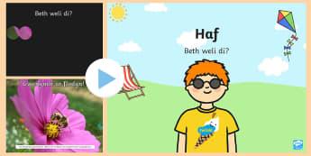 Pwerpwynt Yr Haf Beth Weli Di? - Yr Haf, summer, colouring sheets, rhifau, traeth, beach, display lettering, posteri, ysgrifennu, sum