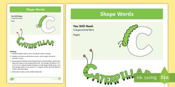 Shape Words Activity - draw, shape, words, describe, art, create, creative, association, literacy