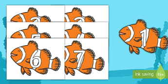 Numbers 0-31 on Clownfish - 0-31, foundation stage numeracy, Number recognition, Number flashcards, counting, number frieze, Display numbers, number posters