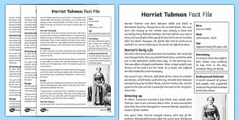 Harriet Tubman Differentiated Fact File - Harriet Tubman Worksheets