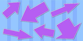 Purple Directional Arrows Cut Outs - purple directional arrows, cut outs, directional arrows, directional arrow cut outs, directional arrows worksheet