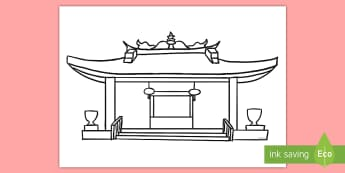 Chinese Temple Template Cut-Out - China, Display, Asia, colouring