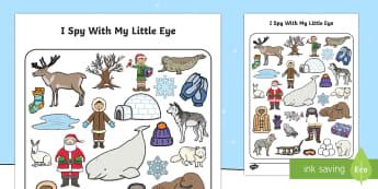 Polar Regions Themed I Spy with My Little Eye Activity - polar regions, arctic, antarctic, i spy, little eye, activity