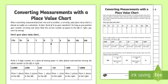 Converting Measurements With A Place Value Chart Activity Sheet - length, metres, worksheet, centimetres, milimetres, multiply by 10, 100, 1000, divide by 10, 100, 10
