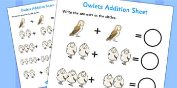Owl Addition Sheet - owl, addition, sheet, add, maths, story