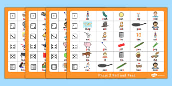 Phase 2 Roll and Read With Pictures - phase 2, roll and read, pictures, activity, phase