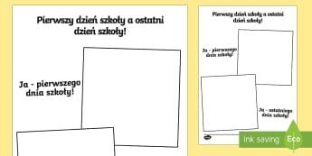 Karta Pierwszy dzień szkoły a ostatni dzień szkoły - rozwój, czas, portret, o sobie, rysowanie, narysuj,Polish