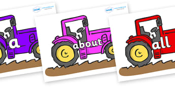 100 High Frequency Words on Tractors - High frequency words, hfw, DfES Letters and Sounds, Letters and Sounds, display words
