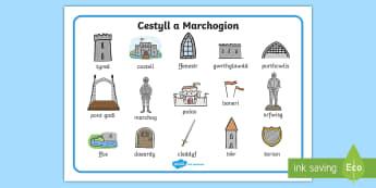 Mat Geiriau Cestyll a Marchogion Mat Geiriau - castell, cestyll, marchog, marchogion, mat geiriau, geirfa, stori,Welsh
