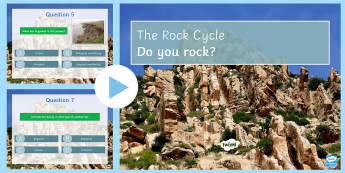 The Rock Cycle Quiz PowerPoint - PowerPoint Quiz, Rock Cycle, Weathering, Sediment, Transport, Deposit, Chemical, Physical, Biologica
