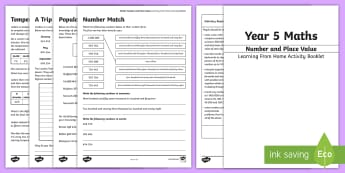 Maths Year 5: Number and Place Value Working From Home Activity Booklet - KS2 Maths Working from home activity booklets, negative numbers, place value, 7 digit numbers, 6-dig