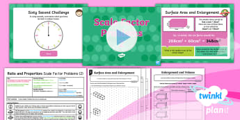 PlanIt Y6 Ratio and Proportion Lesson Pack Scale Factor and Enlargement (3) - Ratio and Proportion, enlargement, volume, ratio, surface area, 3D shapes, sats practise, sats pract