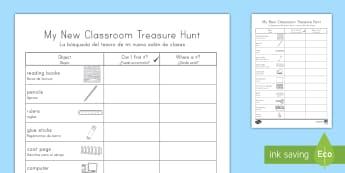 My New Classroom Treasure Hunt US English/Spanish (Latin) - My New Classroom Treasure Hunt - new classroom, treasure hunt