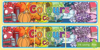 Colour Display Banner portuguese translation - English/Portuguese - Colour Display Banner - colour, colouring, display, banner, poster, sign, colour mixing, black, whit