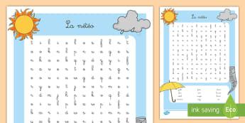Mots mêlés : La météo - mots mêles, météo, saisons, orthographe, vocabulaire, temps, mots, Weather Wordsearch - seasons,
