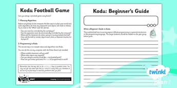 Computing: Kodu Programming Year 6 Unit Home Learning Tasks