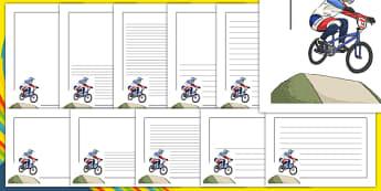 Rio 2016 Olympics BMX Cycling Page Borders - rio olympics, 2016 olympics, rio 2016, bmx cycling, page borders