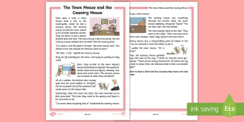 The Town Mouse and the Country Mouse Story - KS1 Comprehensions, aesop's fable, moral, fable, KS1, key stage 1, key stage 1, year 1, year one, y