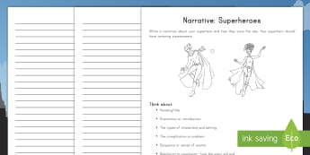 Superheroes Themed Narrative Text Writing Style Activity Sheets  - writing, English, narrative, writing styles, activity sheets,Australia