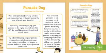 EYFS Pancake Day Home Learning Challenges Nursery FS1 - EYFS, Pancake Day,February, 28th, Shrove Tuesday, pancake, food, homework, parents, carers, home lin