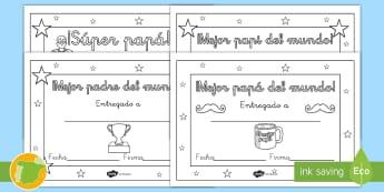 Diplomas: Día del Padre - Día del padre, papá, colorear, colorea, colores, pintar, diploma, diplomas, regalo, Spanish