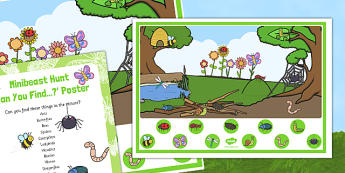 Minibeast Hunt Can You Find Poster and Prompt Card - EYFS, butterfly, caterpillar, spider, ant, dragonfly, bee, ladybird, ant, worm, snail