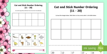Springtime Themed Cut and Stick Number Ordering Sheets 11-20 - number