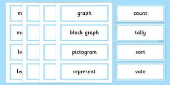 Year 2 Maths Vocabulary Word Cards Organising and Using Data - maths word cards, year 2 maths word cards, data word cards, handling data, maths words