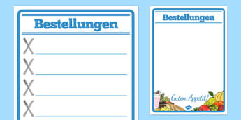 Bestellungen Restaurant Role Play Notepad German - german, food, roleplay, props, cafe