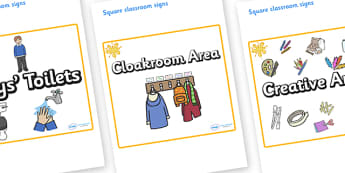 Orange Themed Editable Square Classroom Area Signs (Plain) - Themed Classroom Area Signs, KS1, Banner, Foundation Stage Area Signs, Classroom labels, Area labels, Area Signs, Classroom Areas, Poster, Display, Areas