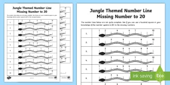 Jungle Themed Number Line Missing Number to 20 Activity Sheet - Filling in the Missing Numbers on a Number Line to 20 Activity Sheet - worksheet, numbers to 20, fil