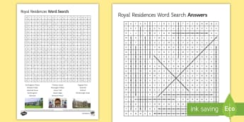 Royal Residences Word Search - word, search, queen, birthday, royal, house, residences, worksheet, starter