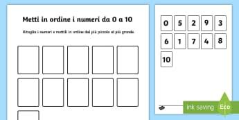 Metti in Ordine i Numeri da 0 a 10 Attività - metti, in, ordine, i, numeri, 10, 1, 0, matematica, esercizio, italiano, italian, materiale, scolast