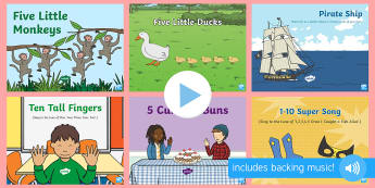 Counting Songs and Rhymes PowerPoints Pack - maths, counting, singing, song time, number songs,