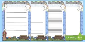 Noah's Ark A4 Page Borders - Noah's Ark, bible story, story, page border, border, writing template, writing aid, writing, noah, tools, ark, animals, rain, rainbow, flood, dove, land