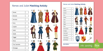 Romeo and Juliet: Lower Ability Word and Picture Matching Activity Sheet  - Secondary, SEN,  lower ability resources , shakespeare,