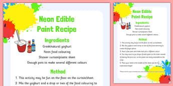 Neon Edible Paint Recipe - neon, edible, paint, recipe, cooking, food, eyfs, early years