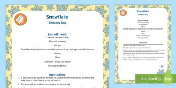Snowflake Sensory Bag - snowflake, sensory bag, sensory, bag, snow