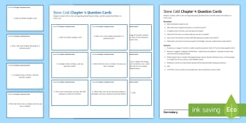 Chapter 4 Question Cards to Support Teaching on 'Stone Cold' by Robert Swindells - Swindells, Comprehension, Shelter, Link, Assess, shelter, ginger