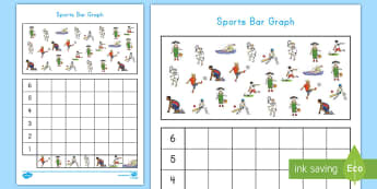 Sports Bar Graph Activity Sheet - Common Core Math, sports, bar graph, data, measurement and data, worksheet