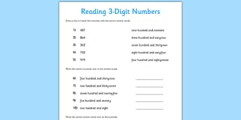 Reading 3-Digit Numbers Activity Sheet - reading, 3-digit, numbers, activity, read, worksheet