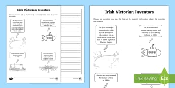 Irish Victorian Inventors Writing Activity Sheet - Victorian, Inventors, Irish Inventors, famous Irish, Technology, inventions, inventors